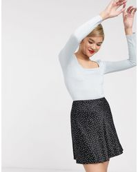 & Other Stories Dot Print Flippy Satin Mini Skirt - Black