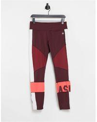 Asics Collants à motif color block - Rouge