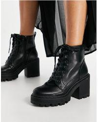 Public Desire Черные Ботинки На Толстой Платформе Со Шнуровкой Levels-черный Цвет