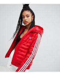 adidas Originals - Three Stripe Padded Jacket In Red - Lyst