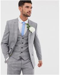 River Island Wedding - Giacca da abito slim grigio a quadri