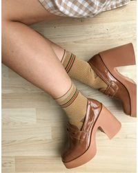 ASOS Profile Chunky High Heeled Loafer - Brown