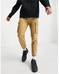 Pull&Bear Pantalon cargo avec ceinture - Sable - Multicolore