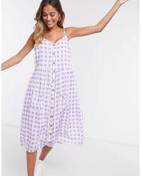 Daisy Street Клетчатое Платье Миди На Бретельках -фиолетовый Цвет - Пурпурный