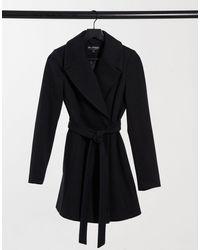 Miss Selfridge Manteau ajusté à ceinture - Noir