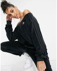 adidas Originals 'relaxed Risqué' Velour Off-the-shoulder Sweatshirt - Black