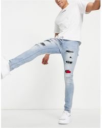 Sixth June Distressed Skinny Jeans With Tartan - Blue
