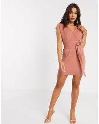 ASOS Split Sleeve Cap Sleeve Wrap Mini Dress With Obi Belt - Pink