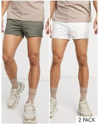 ASOS 2 Pack Skinny Chino Super Short Shorts - White