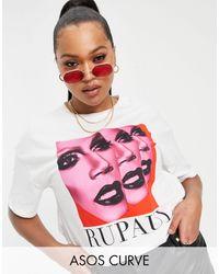 ASOS - Camiseta extragrande blanca RuPaul exclusiva - Lyst