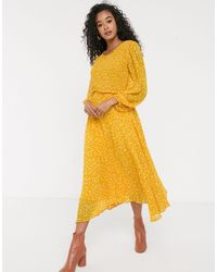 Ghost Margot Georgette Midi Dress With Smocked Bust - Yellow