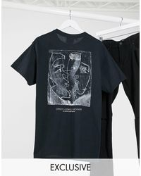 Reclaimed (vintage) Inspired T-shirt With Front And Back Sketchy Faces Print - Black