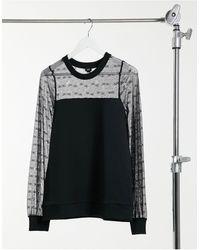 River Island Sweat-shirt en dentelle à monogramme - Noir