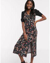 Oasis Floral Print Midi Dress - Black