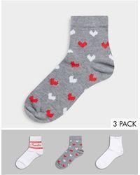 ASOS Christmas 3 Pack Monogram Ankle Socks - Multicolor