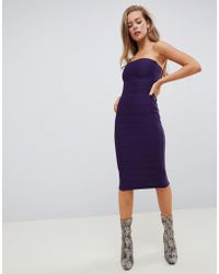 Missguided - Bandage Midi Dress In Purple - Lyst