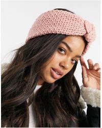 ASOS Crochet Knit Knot Front Headband - Pink