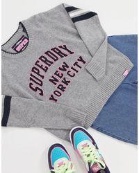 Superdry University Sport Logo Knit - Grey