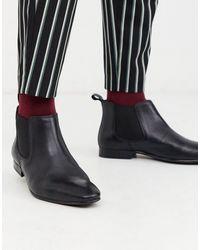 Moss Bros Черные Кожаные Ботинки Челси Moss London-черный
