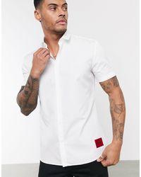HUGO Белая Рубашка С Короткими Рукавами -белый