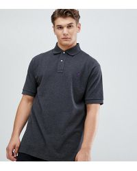 Polo Ralph Lauren - Big & Tall Player Logo Pique Polo In Charcoal Marl - Lyst