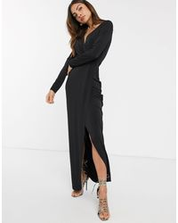 French Connection Slinky Wrap Maxi Dress - Black