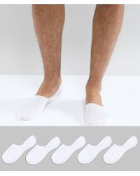 New Look - Invisible Socks In White 5 Pack - Lyst