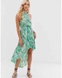 AX Paris Midi-jurk Met Tropische Print En Racerhals - Groen