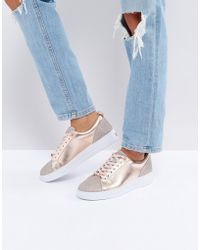 Ted Baker - Kulei Rose Gold Sparkling Trainers - Lyst
