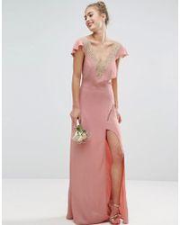 ASOS | Design Bridesmaid Lace Applique Delicate Strap Maxi Dress | Lyst