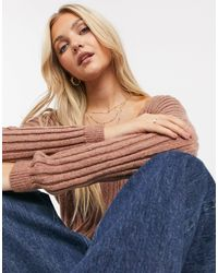 Abercrombie & Fitch V Neck Light Weight Knit Jumper - Brown