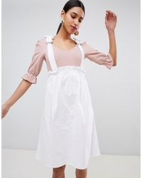 Fashion Union - Scoop Neck Body With Balloon Sleeves In Fine Spot - Lyst
