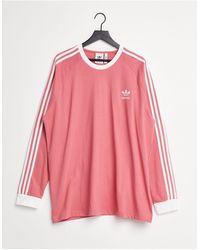 adidas Originals Розовый Лонгслив С Тремя Полосками Adicolor