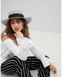 1531266cbced8 ASOS DESIGN - Asos Straw Boater Hat In Metallic Silver - Lyst