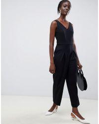 SELECTED - Femme V Neck Wide Leg Jumpsuit - Lyst