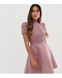Little Mistress Lace Top Full Prom Mini Dress In Blush - Pink