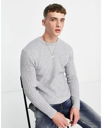Mennace Slouch Knitted Sweater - Gray