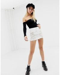 Glamorous Distressed And Embroidered Denim Skirt - White