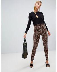 Monki - Leopard Print leggings In Brown - Lyst