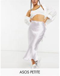 ASOS Asos Design Petite High Shine Satin Bias Slip Midi Skirt - Metallic