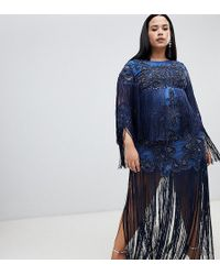 Robe courte ornée à franges Bleu