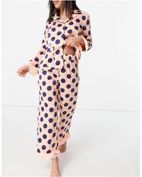 Y.A.S Esclusiva - Pigiama con camicia e pantaloni rosa e blu navy a pois con finiture