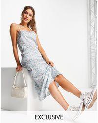 Reclaimed (vintage) Inspired - Robe caraco mi-longue à fleurs - Bleu