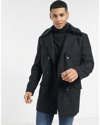 French Connection Double Breasted Coat With Faux Fur Collar - Black
