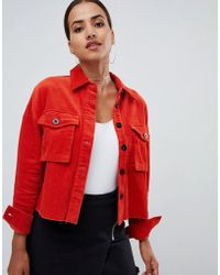PrettyLittleThing Cord Jacket In Red - Brown
