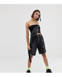 Collusion Long Line Shorts With Rips - Black