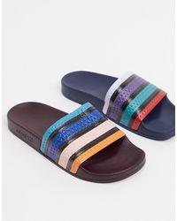 adidas Originals Непарные Шлепанцы С Разноцветными Полосами -мульти - Синий