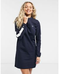 Fred Perry Crew-neck Sweatshirt Dress With Long Sleeves - Blue