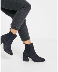 Vero Moda Suede Western Boots-navy - Blue