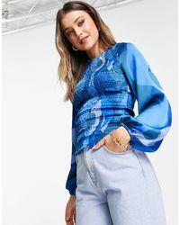 Never Fully Dressed Синий Топ С Абстрактным Принтом, Присборенной Отделкой И Объемными Рукавами От Комплекта -голубой